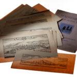Kupferstichreproduktionen von historischen Stadtansichten aus dem 17. Jh.