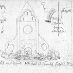 Skizzenbuch, Seite >Klosterkirchenruine Brunnenburg bei Bremberg< , Wilhelm Lotz (1829-1879), 1869 (Digitale Reproduktion: Arbeitsbereich Digitale Dokumentation)