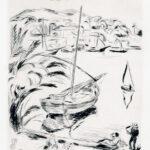 Originalradierung >Südlicher Strand< , Hans Purrmann (1880-1966), um 1925 (digitale Reproduktion: Arbeitsbereich Digitale Dokumentation)