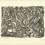 Originalholzschnitt >Tanz nach dem Krieg< , Johann Georg Müller (1913-186), 1949 (Digitale Reproduktion: Arbeitsbereich Digitale Dokumentation)